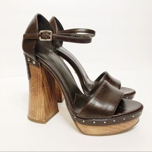 Prada Chunky Wooden Heeled Sandals
